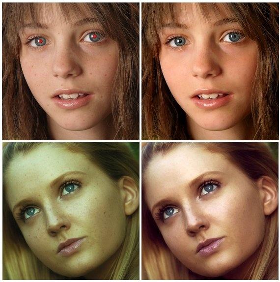 Фотографии до и после обработки на PicTreat